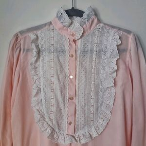 Vintage High Neck Pink Lace Ruffle Nightgown
